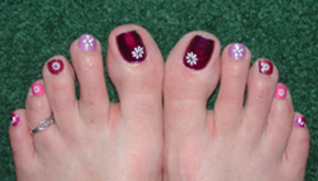 pink purple toenails